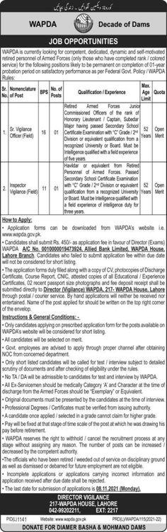 Wapda Jobs Lahore 2021 Download Form