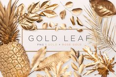 Gold Painted Leaf by Fox & Bear on @creativemarket