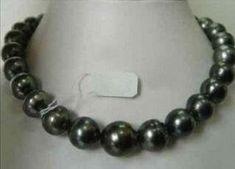 elegant 13-14mm south sea black blue baroque pearl necklace 36inch 14k