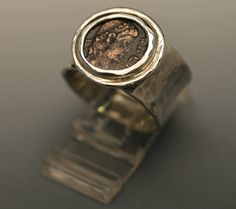 ancient coin ring-men & women silver ring size 9 with roman coin-handmade ring