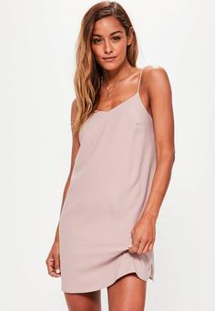 Pink Crepe Shift Dress   Missguided