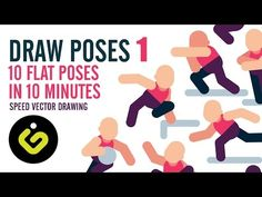How To Draw Poses, 10 Poses In 10 Minutes PART 1, Flat Design Adobe Illustrator Tutorial - YouTube
