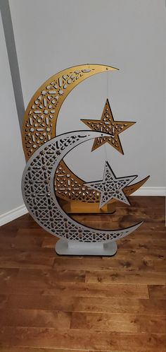 3ft & 4ft Eid Crescent Moon And Star Tree Ramadan Eid Moon   Etsy Eid Moon, Mubarak Ramadan, Mdf Wood, Stars And Moon, String Lights, Delicate, Hand Painted, Base, Pattern