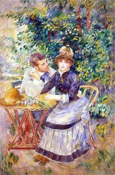 ~In the Garden~ Pierre Auguste Renoir born in Vienne, France. February 25 1841, died in Cotes d'Azur France December 3 1919 at the age of 78 years old. Celebrator of the beauty especially feminine sensuality. He is the father of Pierre Renoir filmmaker (1894-1970) Chantal ~