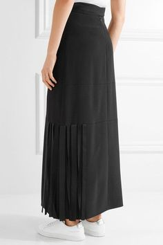 Helmut Lang - Fringed Stretch-cady Maxi Skirt - Black - US10