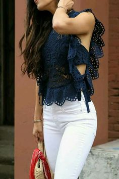 White denim + eyelet top.