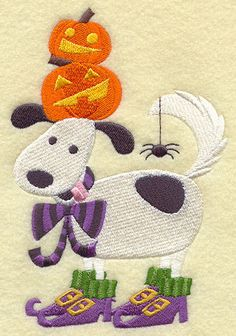 HALLOWEEN HOWLING DOG & PUMPKIN STACK - 2 EMBROIDERED HAND TOWELS by Susan
