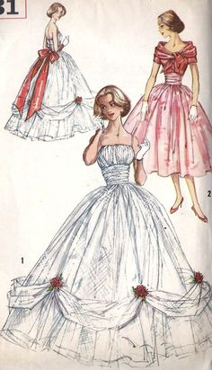 Cinderella in the Wedding Dress Patterns, Vintage Dress Patterns, Vintage Dresses, Vintage Outfits, Moda Fashion, 1950s Fashion, Vintage Fashion, Patron Vintage, Fashion Illustration Vintage