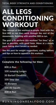 This all legs conditioning workout is a CrossFit-style workout featuring running, jumping lunges, step-ups, burpees, air squats and deadlifts. This workout challenges your cardiovascular conditioning but also builds lower body strength and endurance. Crossfit Legs, Crossfit Leg Workout, Crossfit Workouts At Home, At Home Workout Plan, Burpees Workout, Circuit Training Workouts, Glute Workouts, Kettlebell Training, Boxing Workout