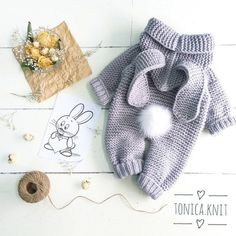 Diy Crafts - knitted baby romper, baby bunny costume, knitted baby clothes, newborn crochet outfit, baby winter c Winter Baby Clothes, Knitted Baby Clothes, Knitted Romper, Crochet Clothes, Crochet Outfits, Knit Baby Sweaters, Babies Clothes, Babies Stuff, Crochet Bebe