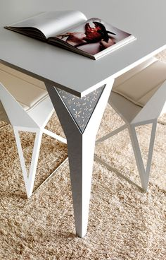 Amazing Classy Table Set Design for Special Moments: Cool Esedra Table Drop Feet Design With Laser Cut Pattern With Magazine Chairs And Rug Ideas ~ buymyshitpile.com Accessories Inspiration