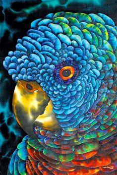 Jean-Baptiste.com Silk Painting of a  parrot