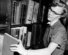 Elsa Lundgren, a librarian at the Council Bluffs Public Library. An Oct. 19, 1954, story talks about the thousands of questions that pour into the library each year and the pace Lundgren must keep to find the books to answer them. Among the inquiries: How do you cook a raccoon? How do you cut down an upright piano? Where do holes in cheese come from? THE WORLD-HERALD