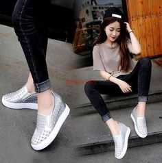 Womens Flats Hollow Out Hidden Wedge Heel Loafers Shoes Creeper Casual Sandals