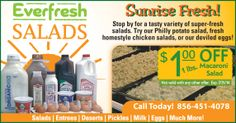 Eat fresh with Everfresh Salads at The Greater Bridgeton Amish Market! Also get their $1.00 OFF macaroni salad coupon here. Amish Market, Macaroni Salad, Deviled Eggs, Chicken Salad, Entrees, Salads, Tasty, Fresh, House Styles