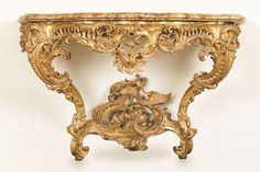CONSOLETABLE  Paris, France, ca. 1735–40  Gilt wood, marble  Courtesy of Horace Wood Brock  Photo: Matt Flynn