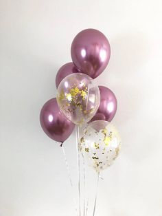 NEW Chrome Mauve Balloons Mauve Balloons Gold Confetti Chrome
