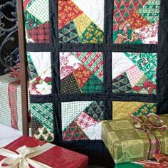 Crazy for Christmas: Easy Foundation-Crazy-Pieced Lap Quilt Pattern Designed by BARBARA CAMPBELL, patterned in McCall's Quilting special issue publication, Simply Quick Quilts, Autumn 2013