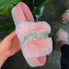 US$ 39.99 - Women Faux Fur Rhinestone Casual Slip On Slippers - m.mensootd.com Fluffy Slides, Toe Length, Fuzzy Slippers, Slipper Sandals, Pink Bling, Fur Slides, Crocs Slides, Toe Shape, Womens Slippers