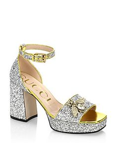 67d406eac Gucci - Soko Glitter Sandals. Glitter SandalsShoes SandalsGucci ShoesBlock  HeelsOpen ToeAnkle StrapHeeled ...