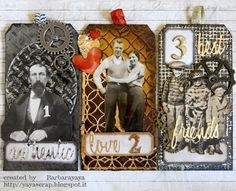 Super fun tags made from recycled materials by Barbara. For the Simon Says Stamp Monday Challenge blog!