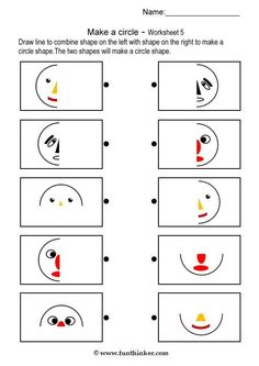 Make a Circle Shape - Brain Teaser Worksheets # 5 Library Activities, Kids Learning Activities, Preschool Worksheets, Preschool Activities, Visual Perception Activities, Brain Teasers For Kids, Circle Shape, Thinking Skills, Early Childhood