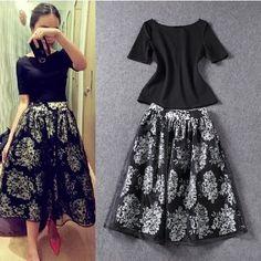 Vintage Hepburn Floral Print High Waist Pleated Midi Skirt Ball ...