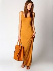 Women's Graceful O-Neck Package Hip Floor-length Cotton Tank Petite Maxi Dress