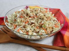 Asian Cole Slaw Salad-I add cilantro instead of or in addition to scallions. And I add the noodles in altogether. This is a popular salad in my house.