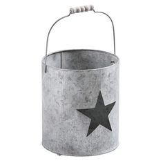 Windlicht Metall mit Stern, grau, 9,99 €