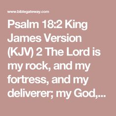 Psalm 18:2 King James Version (KJV) 2 The Lord is my rock, and my fortress, and my deliverer; my God, my strength, in whom I will trust; my buckler, and the horn of my salvation, and my high tower. King James Version (KJV)