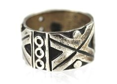 Vintage Taxco, Mexico Vintage Wide Cigar Band Ring , Sterling Silver