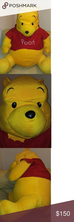 SUPER CUTE GIANT SIZED WINNIE THE POOH TEDDY BEAR This WINNIE THE POOH is Sooooooooo ADORABLE!!.Great for a DISNEY themed baby room or VALENTINES DAY GIFT!Maybe your a WINNIE THE POOH collector.The size is 41in height 33in across 65in around.Clean and dustfree..Polyester filling.Comes with a plastic bag covering to keep him dustfree.Little to no flaws or imperfections.Great condition!*NO LOW BALLERS* Disney Other