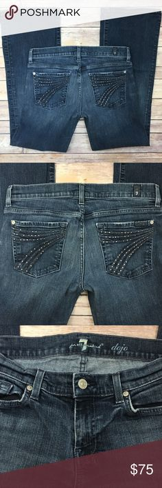 """7 For All Mankind Crystal Dojo Jeans 29 x 29 7 For All Mankind Swarovski Crystal Dojo Jeans 29 & already hemmed to a 29"""" inseam.  Gorgeous Swarovski Crystal Dojo Jeans in great condition - only missing a few crystals (please refer to photos).  Measurements are in photos, too. 7 For All Mankind Jeans Flare & Wide Leg"""