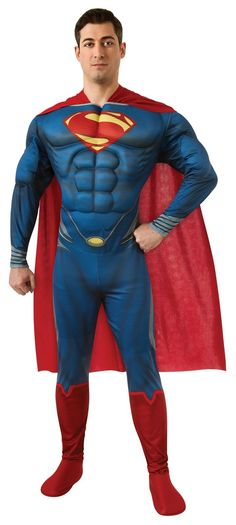 Man of Steel Superman Deluxe Adult Costume - Includes Muscle Chest Jumpsuit with Attached Boot Covers, Cape, Molded Belt. This is an officially licensed Superman product.