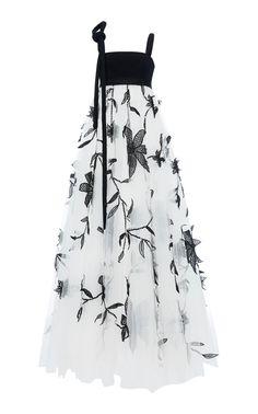 Oscar De La Renta Floral Embroidered Tulle Gown