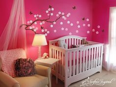 Baby girl nursery -I would love to rock a baby in this room. A niece or friends child cause I'm done. : )