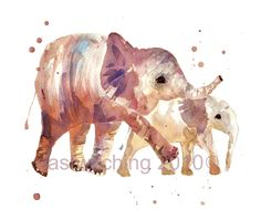 Elephant print, children's art, Nursery ELEPHANT, new mum gift, nursery art, animal print. $18.00, via Etsy.
