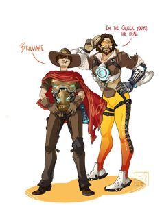 Overwatch Outfit-Swap: Tracer and McCree [Submitted by: @youusedtorecalltracer and an Anon] DAAAANG LENA. That's literally all I have to say. And also, has anyone ever noticed how freaking long her legs are?! It was hilarious trying to transfer...