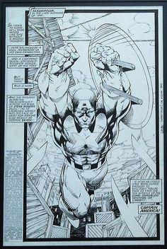 "dustrial-inc: ""Captain America - Jim Lee "" Comic Book Pages, Comic Book Artists, Comic Artist, Comic Books Art, Jim Lee Art, Pop Culture Art, Marvel Captain America, Comic Panels, A Comics"