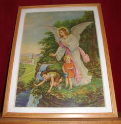 VINTAGE RELIGIOUS IMAGE POSTER 18 X 23 GABRIEL ANGEL W CHILDREN F. SONDEY 65$