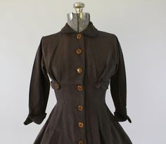 1950's Brown Tailored Dress