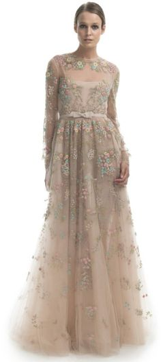 Valentino Beige  Long Sleeve Floral Embroidered Gown