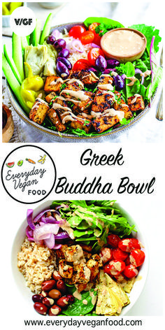 Greek Buddha Bowl with tahini lemon dressing and Greek marinated tofu. It's just perfection. The combination of everything in this buddha bowl is out of this world! Greek Recipes, Vegan Recipes Easy, Whole Food Recipes, Vegetarian Recipes, Amish Recipes, Bol Buddha, Buddha Bowl, Food Bowl, Budha Bowl Recipe