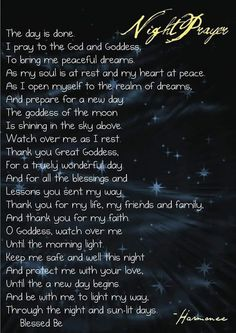Book of Shadows: Night Prayer. Evening Prayer, Night Prayer, Bedtime Prayer, Magick Spells, Luck Spells, Wicca Witchcraft, Gods And Goddesses, Book Of Shadows, Prayers