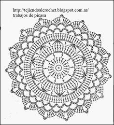 New crochet granny square circle beautiful Ideas Motif Mandala Crochet, Crochet Doily Diagram, Crochet Doily Patterns, Crochet Chart, Crochet Squares, Thread Crochet, Crochet Doilies, Crochet Granny, Crochet Round