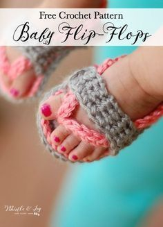 FREE Crochet Pattern - Crochet Baby Flip-Flops | These adorable little baby sandals are easy to make and the perfect summer accessory for baby! A must make! #crochetflipflops #crochetbabyflipflops