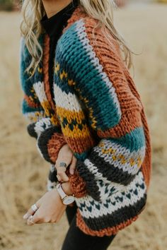 Celebrate every shade of autumn with the Nepal Stitched Cardigan! This cozy sweater features a handmade, woven material combined with a bold, colorful pattern on front. Multi Coloured Cardigans, Chunky Knitwear, Winter Looks, Cozy Sweaters, Sweater Outfits, Passion For Fashion, Lana, Knit Crochet, What To Wear