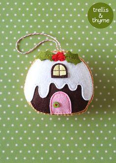 PDF el patrón - patrón de ornamento de pudín Figgy Cottage, Navidad sentía ornamento patrón, patrón de costura de fieltro Pilot de postre