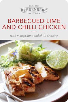 This Barbecued Lime and Chilli Chicken with Mango, Lime and Chilli Dressing is super easy to make and delicious for the whole family. Click the image for the recipe.  #chillichicken #dinnerideas #familymeals